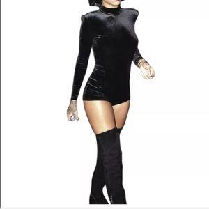Velvet romper bodysuit jumper shorts jumpsuit